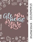 hand drawn poster with love... | Shutterstock .eps vector #1015090915