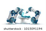 robotic surgery. robot surgeon... | Shutterstock . vector #1015091194