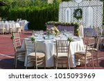 wedding table decoration | Shutterstock . vector #1015093969