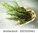 rosemary in heart form wooden... | Shutterstock . vector #1015103461