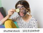 healthy living. teenage girl... | Shutterstock . vector #1015104949