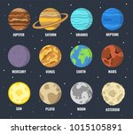 colorful planets set. vector... | Shutterstock .eps vector #1015105891