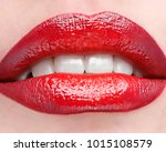 the female lips which are made... | Shutterstock . vector #1015108579