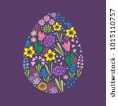 easter egg image with floral... | Shutterstock .eps vector #1015110757