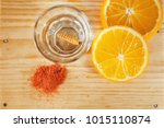 mezcal with orange slices and... | Shutterstock . vector #1015110874
