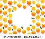 frame of fresh oranges isolated ... | Shutterstock . vector #1015112674