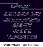 minimallistic neon font. sans... | Shutterstock .eps vector #1015113061