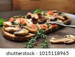 freshly fried mushrooms are... | Shutterstock . vector #1015118965