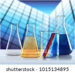 laboratory glassware containing ... | Shutterstock . vector #1015134895