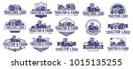 15 vector set of tractor logo... | Shutterstock .eps vector #1015135255