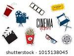 vector flat cinema stickers ... | Shutterstock .eps vector #1015138045