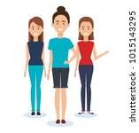 group of women characters | Shutterstock .eps vector #1015143295