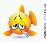 cute sick fish emoticon  emoji  ... | Shutterstock .eps vector #1015143859