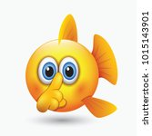 cute shushing fish emoticon ... | Shutterstock .eps vector #1015143901
