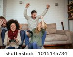 young couples playing a video... | Shutterstock . vector #1015145734