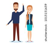 young couple avatars characters | Shutterstock .eps vector #1015151659