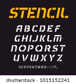 stencil font  geometric... | Shutterstock .eps vector #1015152241