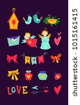 vector kit with decorative love ... | Shutterstock .eps vector #1015161415