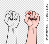 raised women s fist isolated  ... | Shutterstock .eps vector #1015171159