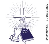 Praying Hands , Bible, gospel, crown of thorns, wooden cross. Easter . symbol of Christianity hand drawn vector illustration sketch