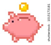 piggy bank money pixel art... | Shutterstock .eps vector #1015173181