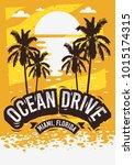 ocean drive miami beach florida ... | Shutterstock .eps vector #1015174315