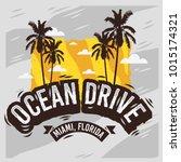 ocean drive miami beach florida ... | Shutterstock .eps vector #1015174321