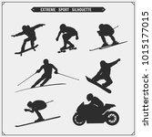 vector set of sport players... | Shutterstock .eps vector #1015177015