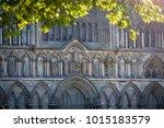 view on facade of old trondheim ...   Shutterstock . vector #1015183579