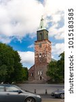turku cathedral on sunny day...   Shutterstock . vector #1015183585