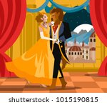 beauty and the beast faity tale | Shutterstock .eps vector #1015190815