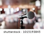 microphone close up. focus on... | Shutterstock . vector #1015193845