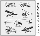 vector set of airplane and... | Shutterstock .eps vector #1015198351