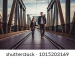 father and daughter wearing... | Shutterstock . vector #1015203169