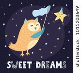 sweet dreams card with a cute... | Shutterstock .eps vector #1015203649