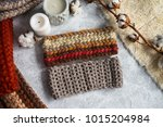 knitted caps in the interior... | Shutterstock . vector #1015204984