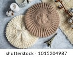 knitted caps in the interior... | Shutterstock . vector #1015204987