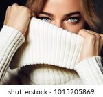 a close up portrait of a woman. ... | Shutterstock . vector #1015205869