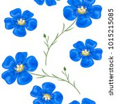 flax blue flowers with stem.... | Shutterstock .eps vector #1015215085