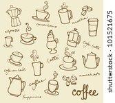 set of coffee doodles vector | Shutterstock .eps vector #101521675