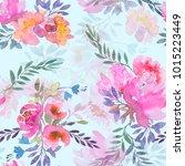 flowers. watercolor... | Shutterstock . vector #1015223449