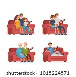 different people sitting on... | Shutterstock .eps vector #1015224571