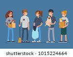 group volunteers standing... | Shutterstock .eps vector #1015224664