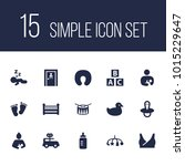 set of 15 kid icons set.... | Shutterstock . vector #1015229647