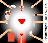 surrounding hands offering...   Shutterstock .eps vector #1015233415