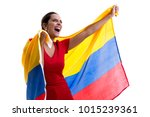 colombian female fan... | Shutterstock . vector #1015239361