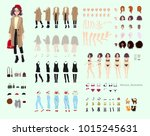 animate character. young lady... | Shutterstock .eps vector #1015245631