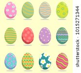 set of easter eggs | Shutterstock .eps vector #1015271344