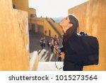 lifestyle travel photographer... | Shutterstock . vector #1015273564