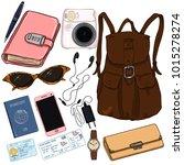 vector cartoon color travel set....   Shutterstock .eps vector #1015278274